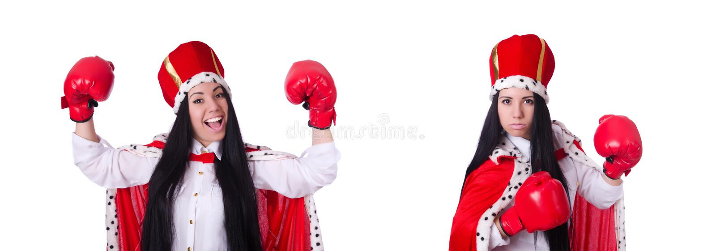 Ферзь женщины с перчатками бокса стоковые фотографии rf