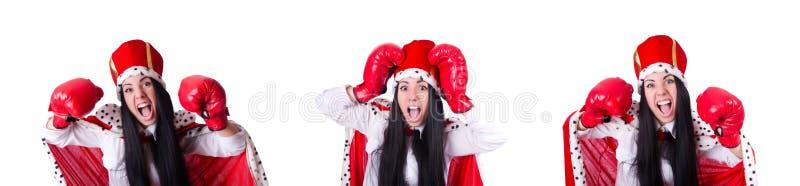 Ферзь женщины с перчатками бокса стоковое фото