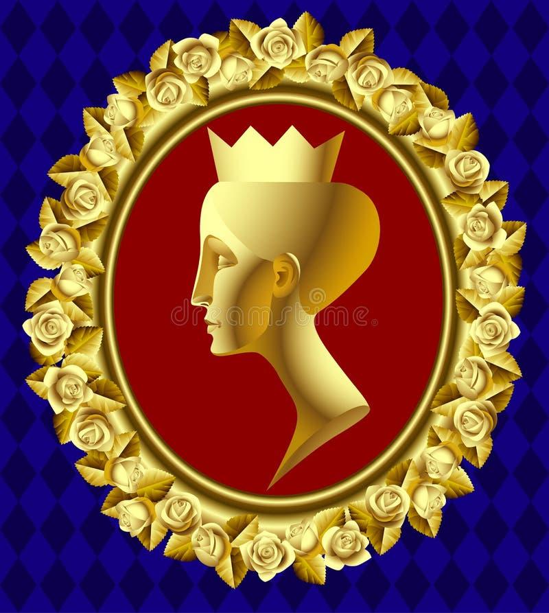 ферзь профиля золота иллюстрация вектора