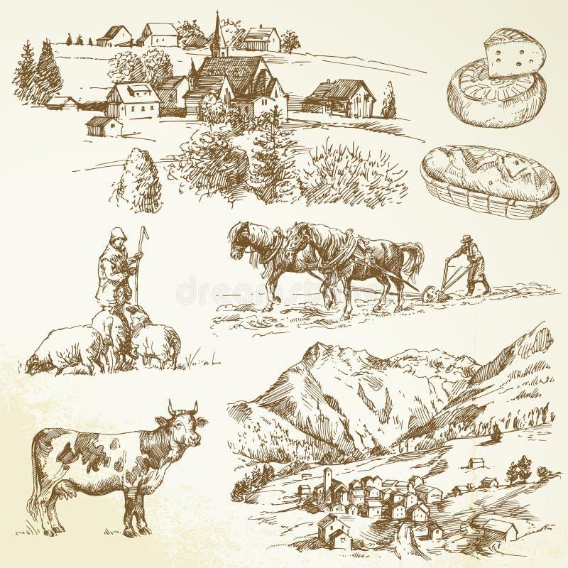 Ферма, аграрное село иллюстрация штока