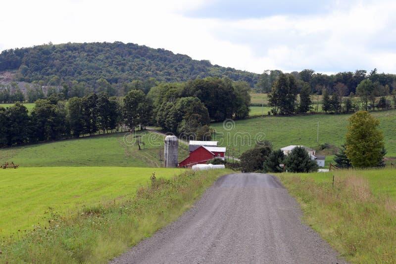 Ферма вдоль грязной улицы стоковое фото