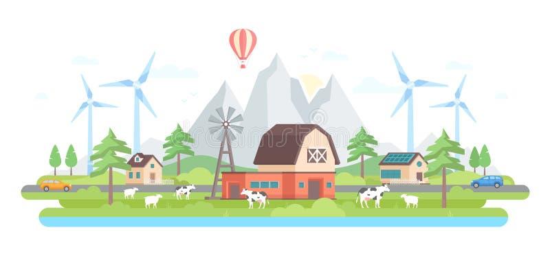 Ферма горами - современная плоская иллюстрация вектора стиля дизайна иллюстрация вектора