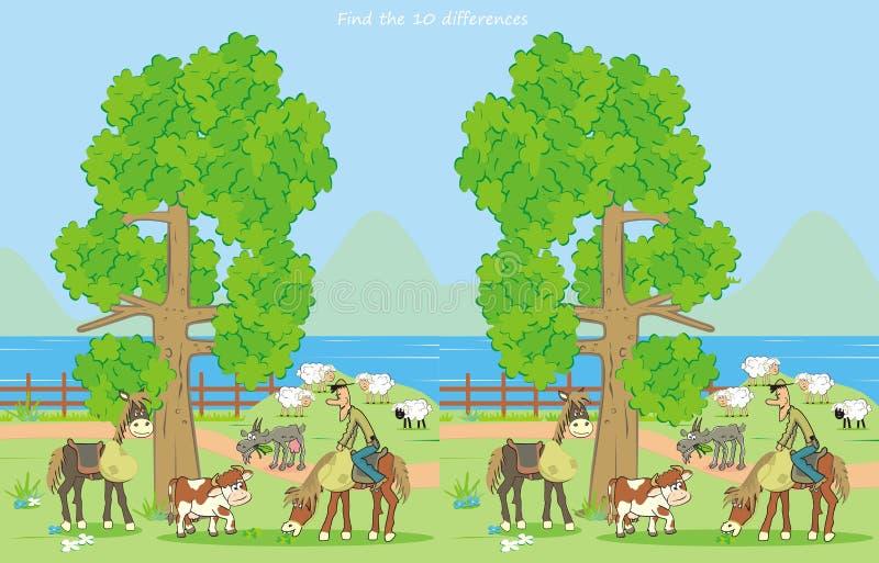Ферма, находит 10 разниц бесплатная иллюстрация