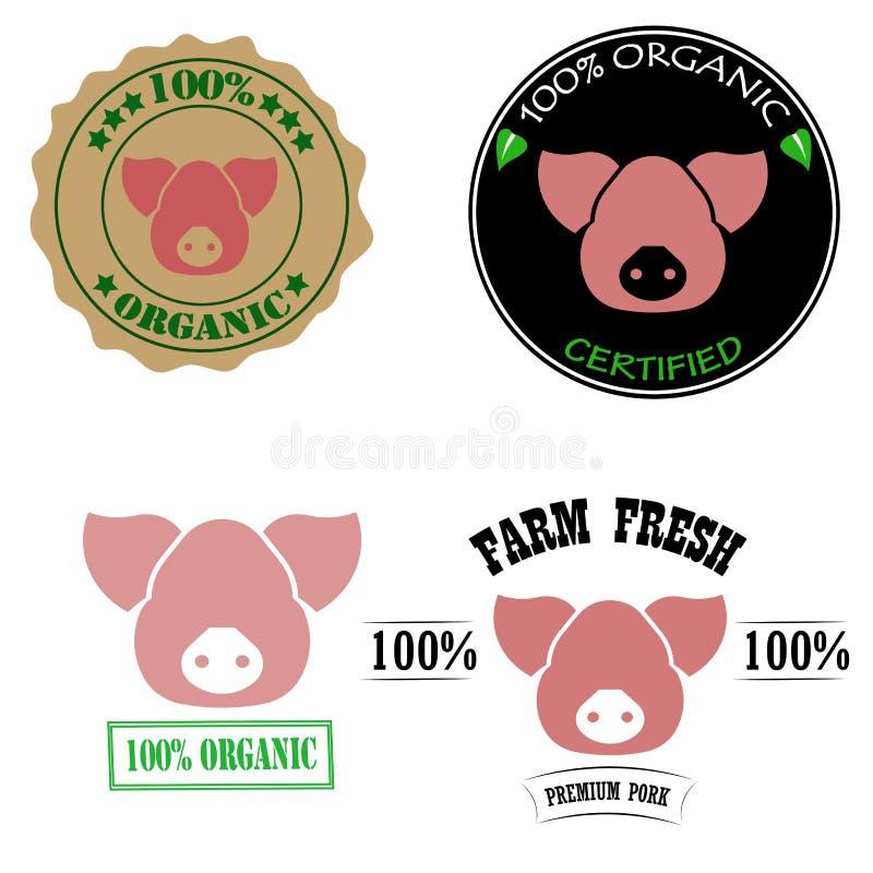 ферма 100% органическая, аттестованная, свежая, наградные логотипы мяса свинины или комплект ярлыков с розовой головой свиньи так иллюстрация вектора