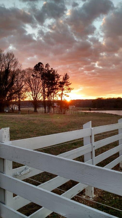 Ферма Северной Каролины захода солнца стоковое изображение