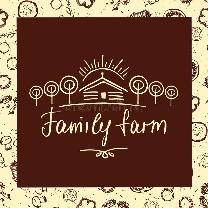 Ферма семьи Логотип эскиза для земледелия, садоводства Рука dra бесплатная иллюстрация