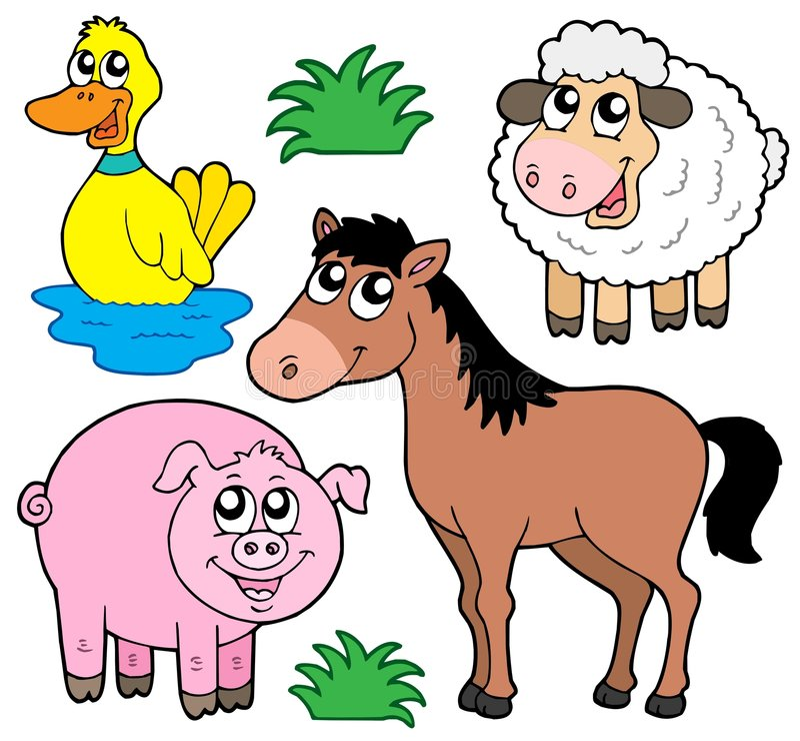ферма собрания 5 животных иллюстрация вектора