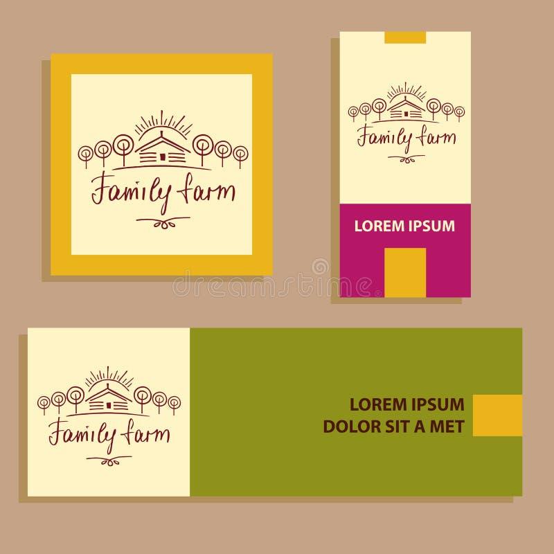 Ферма eco семьи Логотип эскиза для земледелия, садоводства Рука иллюстрация вектора