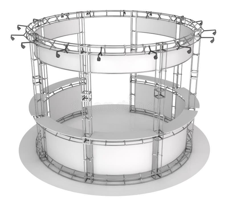 Ферменная конструкция торговой выставки, круглый павильон выставки иллюстрация 3d иллюстрация вектора