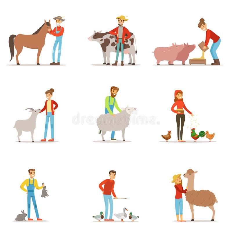 Фермеры разводя поголовье Люди работника профессии фермы, животноводческие фермы Комплект вектора красочного шаржа детального иллюстрация вектора