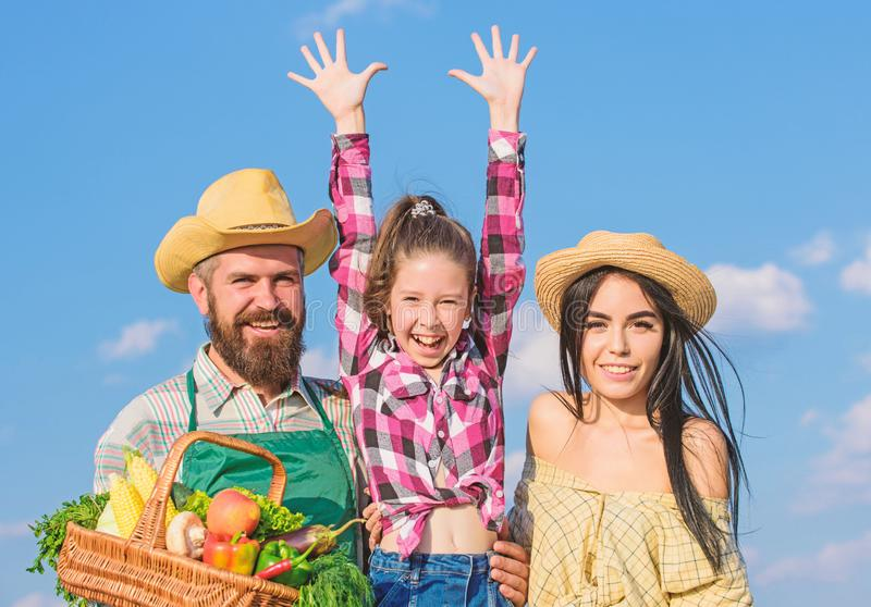 Фермеры семьи гордые концепции фестиваля сбора сбора падения Жизнь в преимуществах сельской местности Родители и дочь стоковые фотографии rf