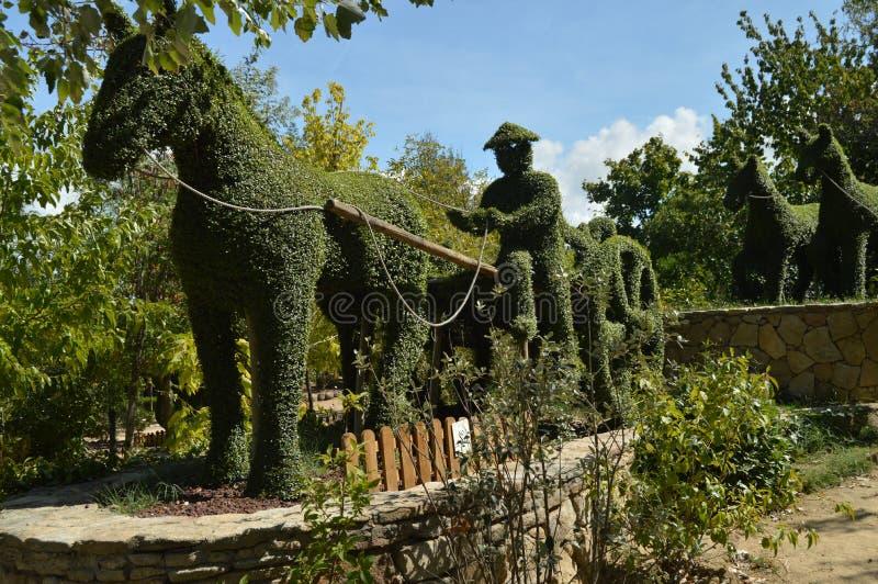 Фермер в его автомобиле вытянул лошадью воссозданной в скульптуре папоротника стоковая фотография rf