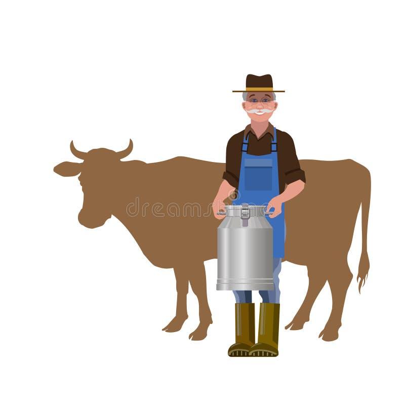 Фермер держа маслобойку молока бесплатная иллюстрация