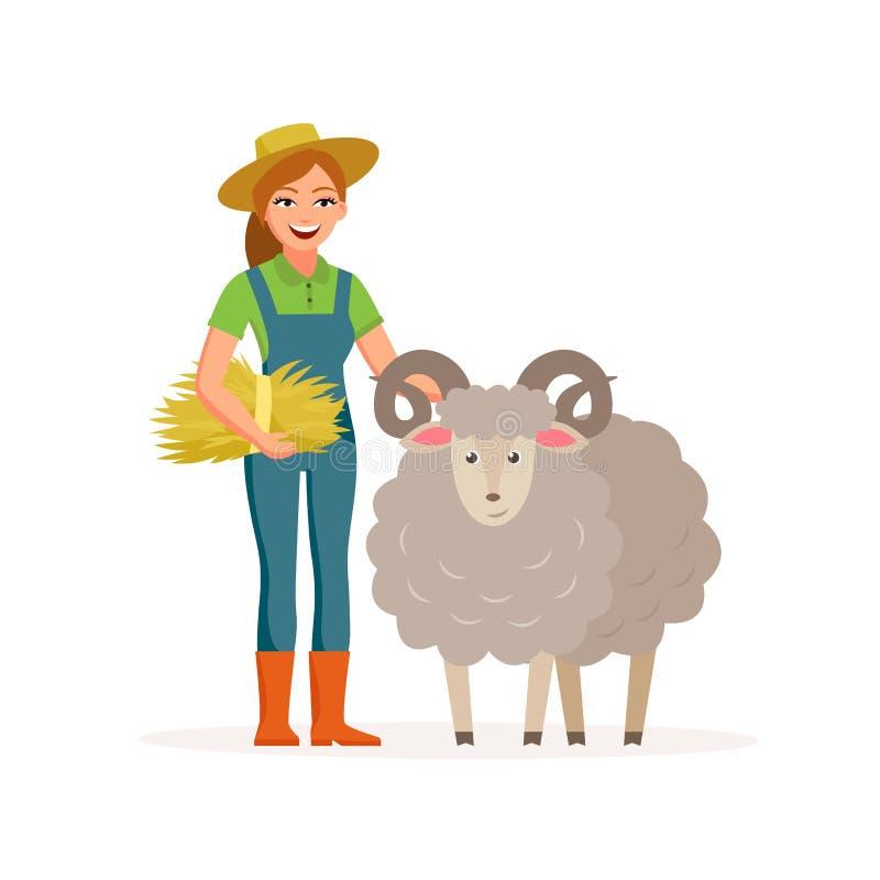 Фермер - женщина при овца усмехаясь с сеном Иллюстрация вектора концепции сельского хозяйства в плоском дизайне Счастливые фермер иллюстрация вектора
