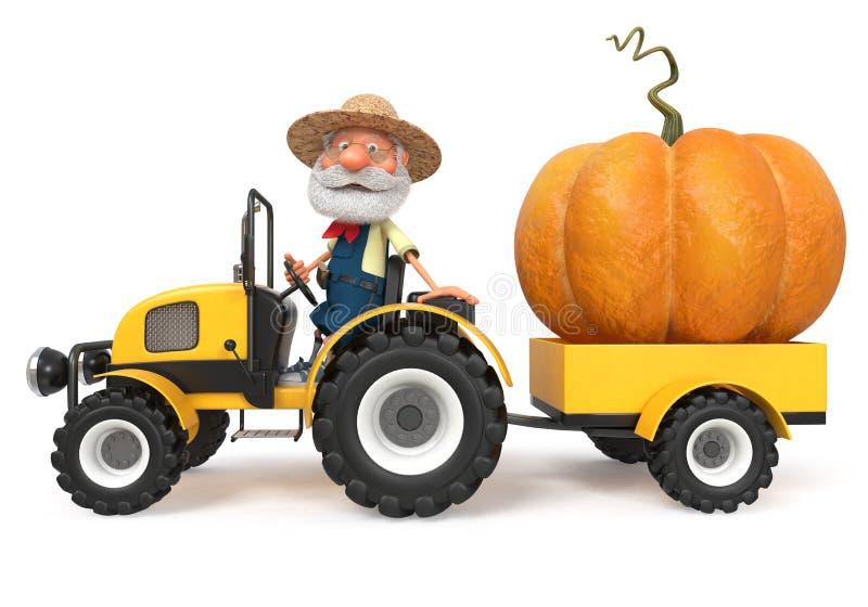 фермер иллюстрации 3d с большой тыквой стоковые изображения rf