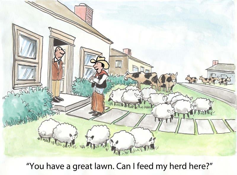 Фермер и его табун иллюстрация вектора
