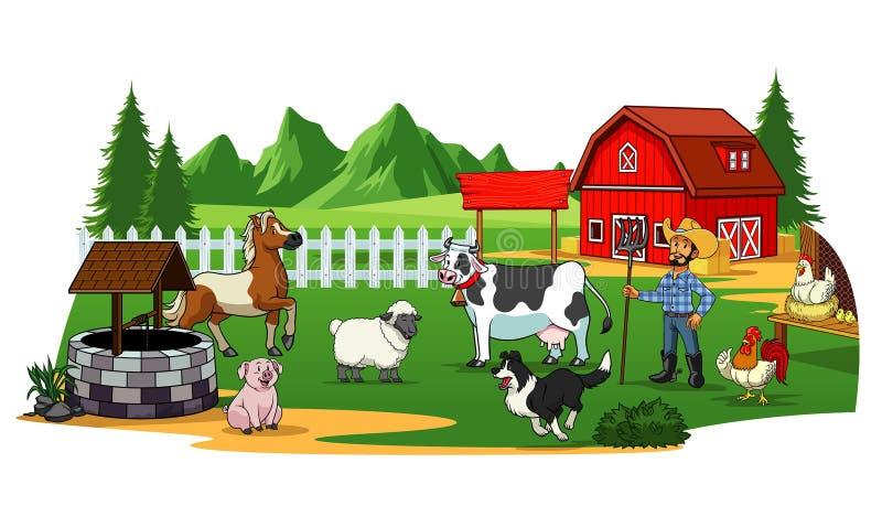 Фермер и животные во дворе фермы бесплатная иллюстрация
