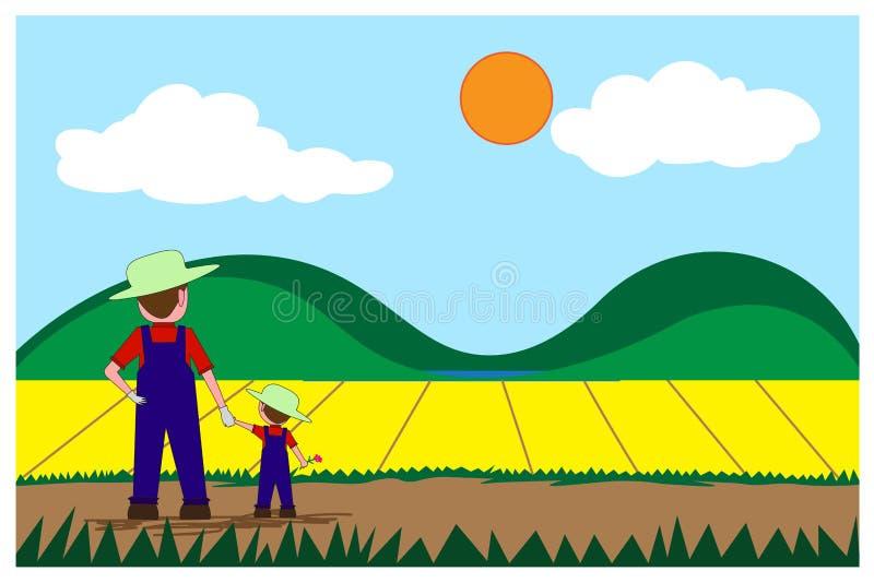 Фермер и мальчик стоят держащ руку, смотрят к растущим заводам сада иллюстрация вектора