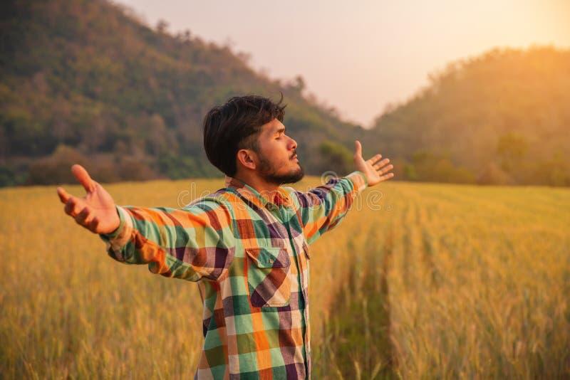 Фермер молодого человека в оружиях рубашки Скотта стоя поднятых в поле ячменя стоковое изображение rf