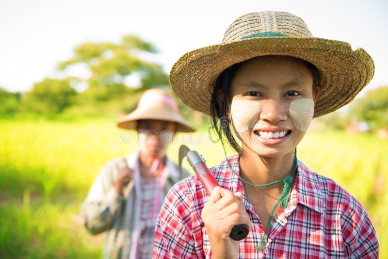 Фермер Мьянмы азиатский традиционный стоковое фото