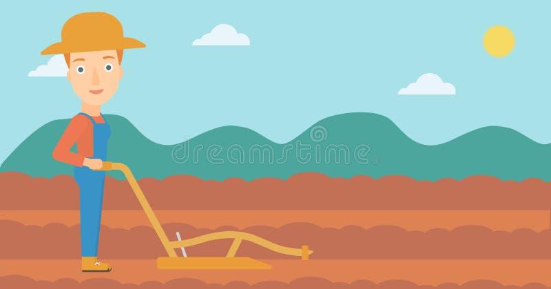 Фермер на поле с плугом бесплатная иллюстрация