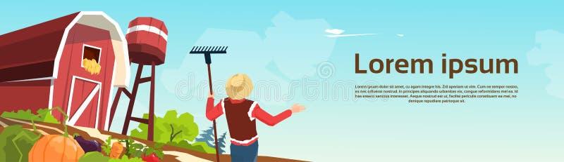Фермер работая на иллюстрации вектора амбара фермы бесплатная иллюстрация