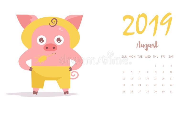 Фермер свиньи в шляпе и с вектором шарж изолировано Календарь августа 2019 плоско иллюстрация штока