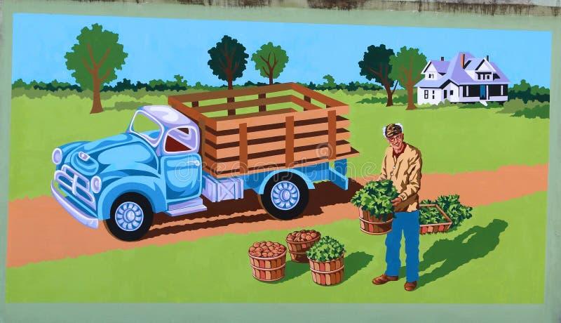 Фермер с настенной росписью урожаев на дороге Джеймс в Мемфисе, Теннесси стоковое изображение