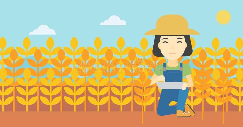 Фермер с планшетом на поле бесплатная иллюстрация