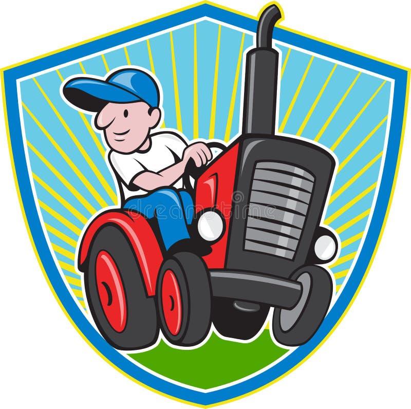 Фермер управляя винтажным шаржем трактора бесплатная иллюстрация