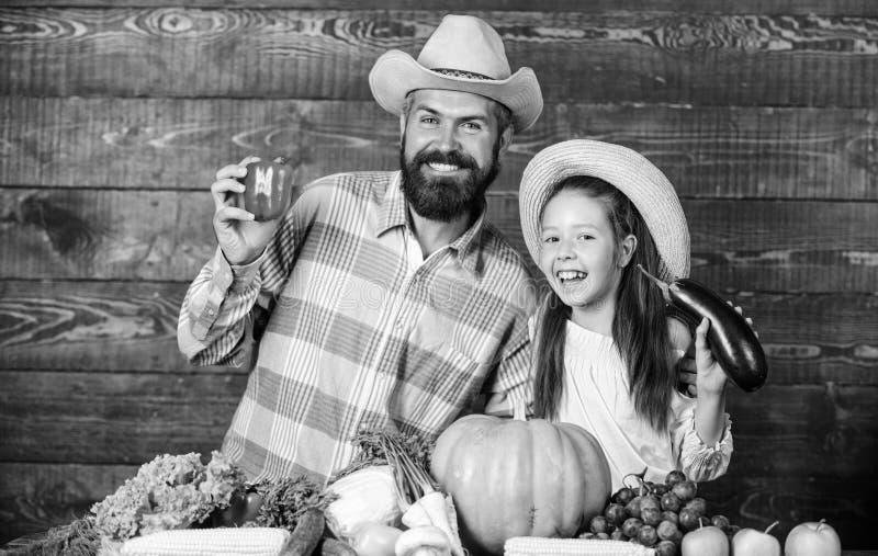 Фермер человека бородатый деревенский с ребенк Образ жизни семьи сельской местности Садовник фермера отца семьи с дочерью близко стоковые фотографии rf