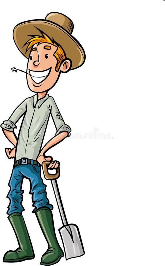 Фермер шаржа с лопатой бесплатная иллюстрация