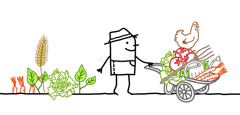 Фермер шаржа с тачкой, овощами и инструментами иллюстрация штока