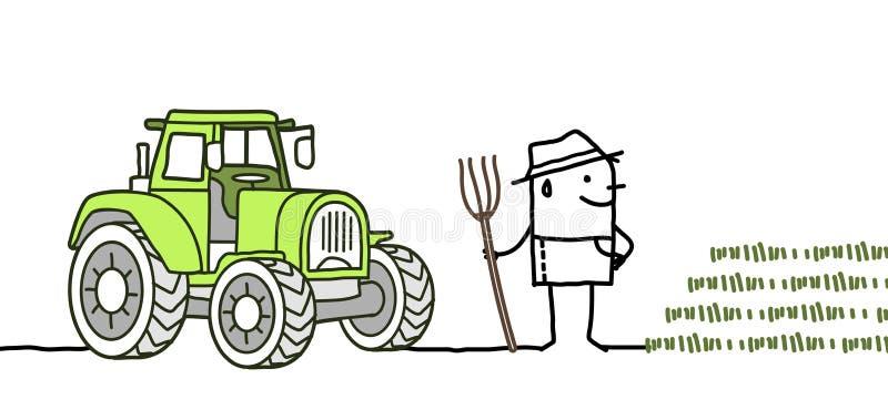 Фермер шаржа с трактором иллюстрация вектора