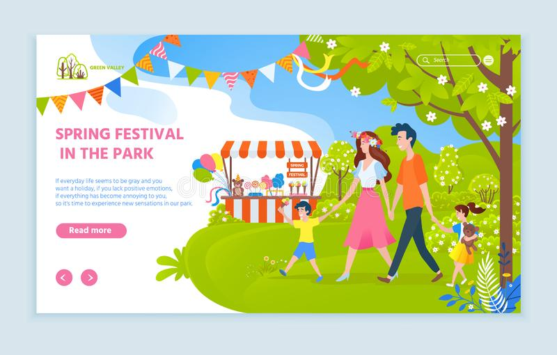 Фестиваль весны в вебсайте семьи парка с текстом бесплатная иллюстрация