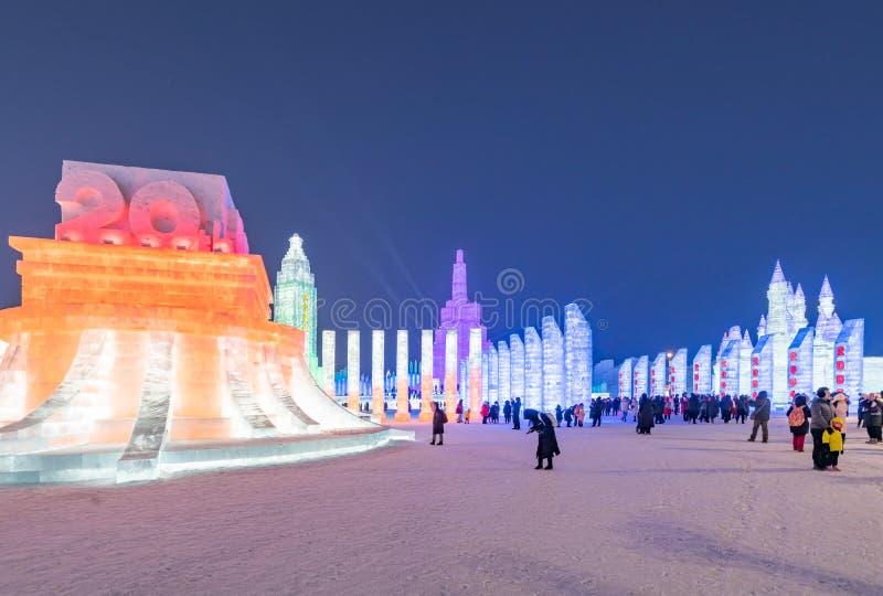 Фестиваль 2019 льда и мира снега, Харбин, Хэйлунцзян, Китай стоковое фото rf