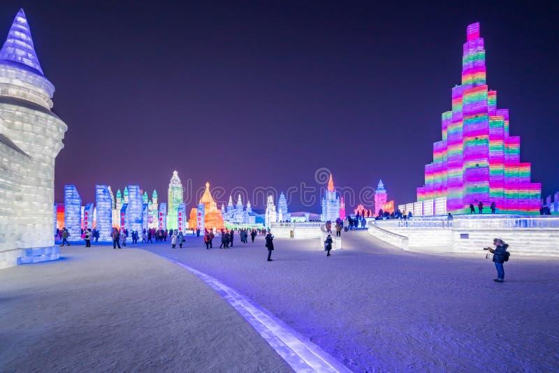 Фестиваль 2019 льда и мира снега, Харбин, Хэйлунцзян, Китай стоковое изображение rf