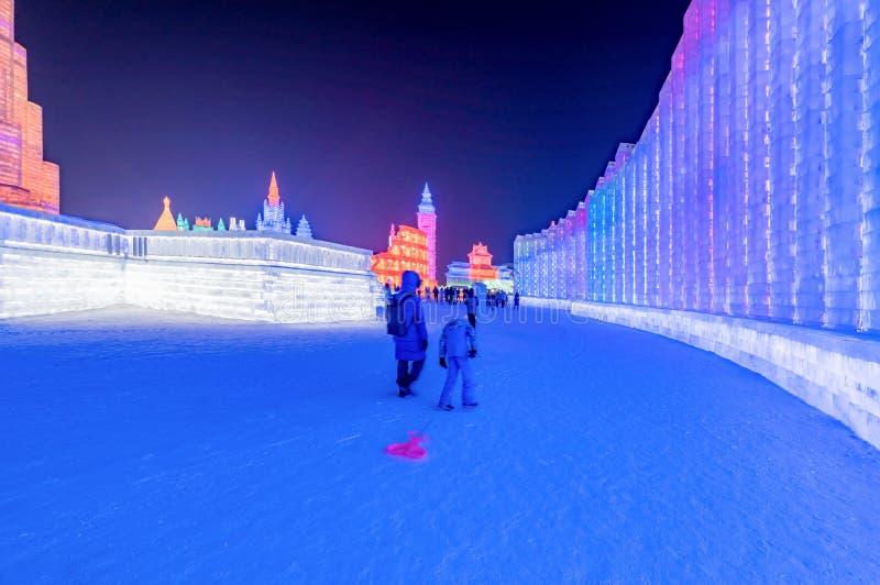 Фестиваль 2019 льда и мира снега, Харбин, Хэйлунцзян, Китай стоковая фотография rf