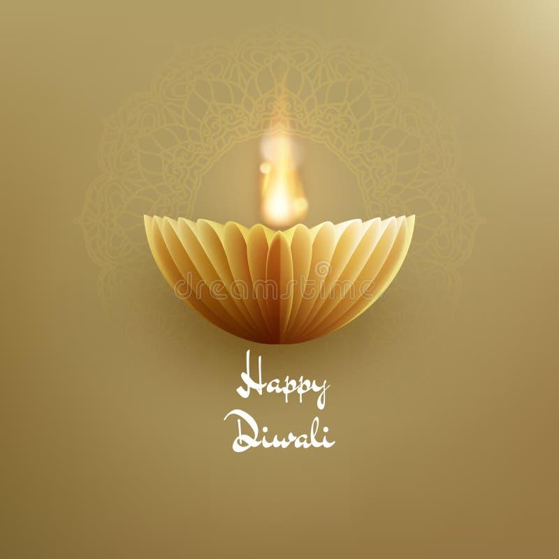 Фестиваль огней Deepavali счастливого индейца Diwali индусский Бумажный график масляной лампы 10 eps бесплатная иллюстрация