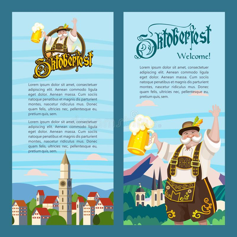 Фестиваль пива Oktoberfest ежегодный традиционный в Германии r иллюстрация вектора