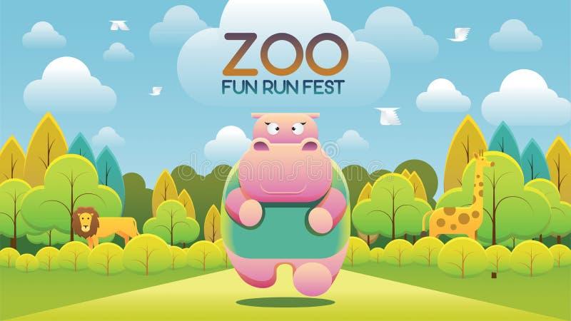 Фестиваль потехи бега зоопарка иллюстрация штока