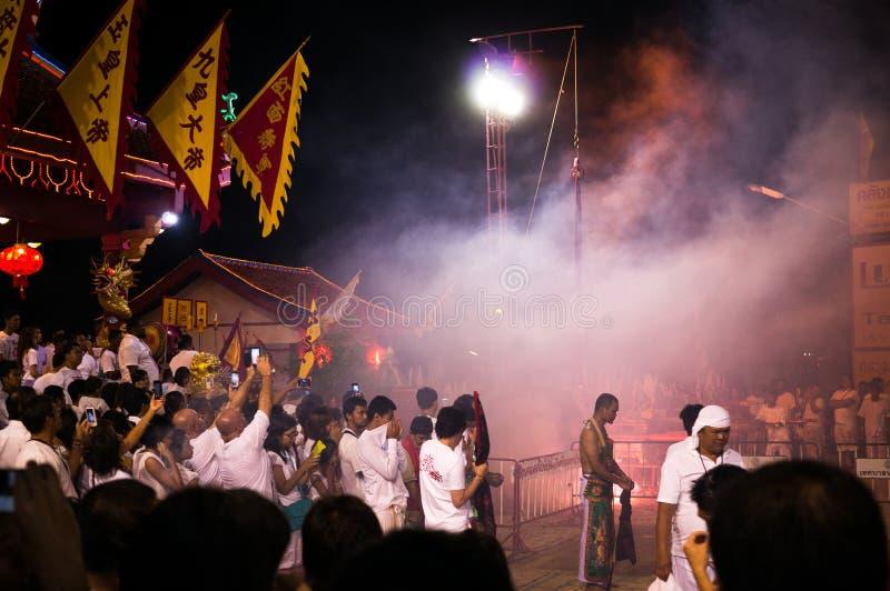 Фестиваль Пхукета вегетарианский самые грандиозные и самые важные ежегодные события стоковые изображения