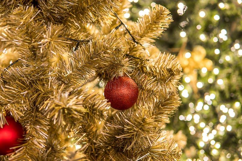 Фестиваль рождества в Бангкоке Золотая рождественская елка с красным b стоковое изображение rf
