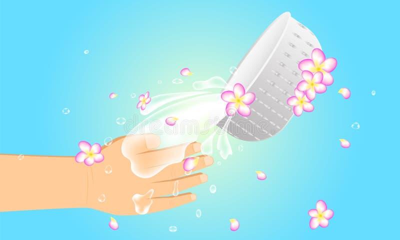 Фестиваль Таиланд songkran лета 11-ое-15 апреля уважайте и получайте здоровые богатые деньги которые слово от prarent к счастливо иллюстрация вектора