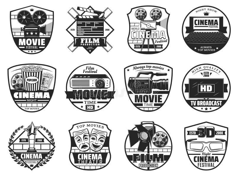 Фестиваль фильма, значки театра кинемотографии иллюстрация вектора