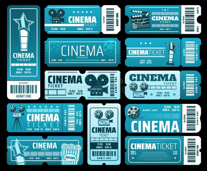Фестиваль фильма кинемотографии, билеты кино иллюстрация вектора