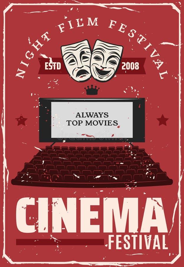 Фестиваль фильма кино, экран театра вектора иллюстрация штока