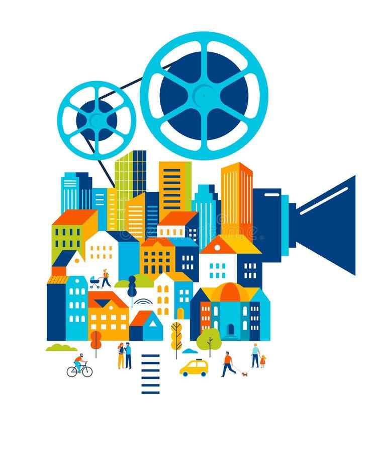 Фестиваль фильмов, кино и киноафиша, творческая ретро идея проекта вектора бесплатная иллюстрация