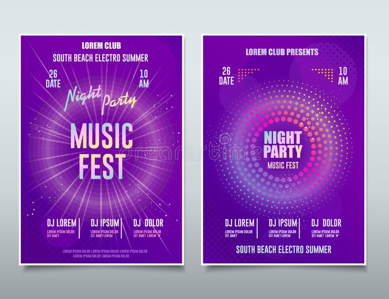 Фестиваль электронной музыки Flyer, Sound Event, DJ Party abstract музыкальный постер, Technology Background Вектор бесплатная иллюстрация
