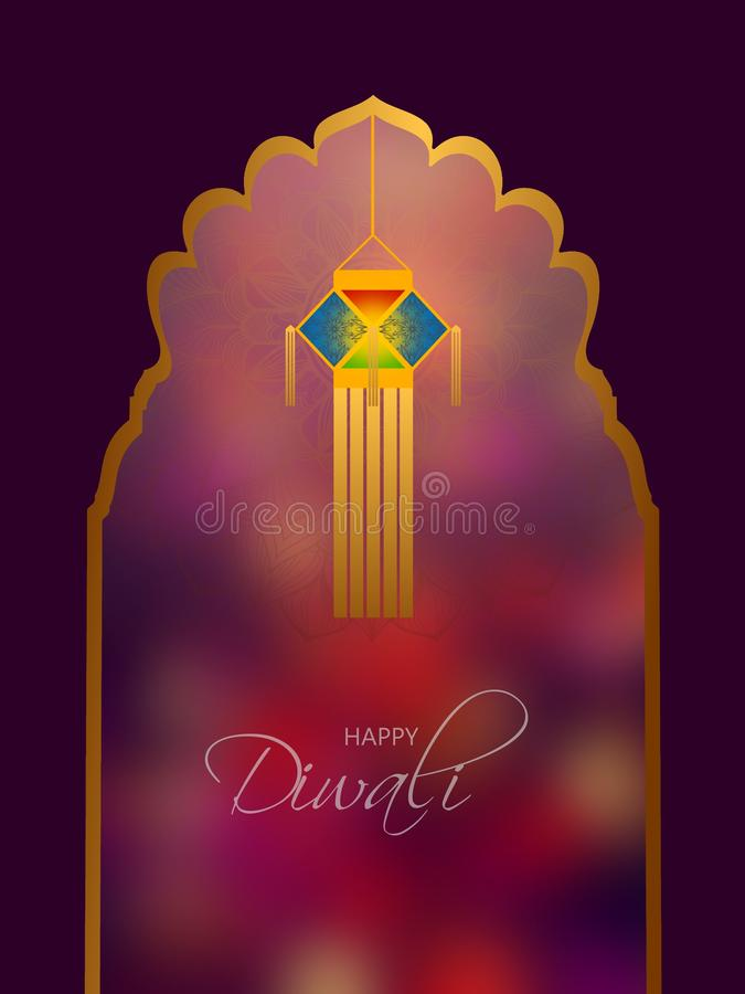 Фестиваль Diwali со светами вешалки и арабским сводом бесплатная иллюстрация